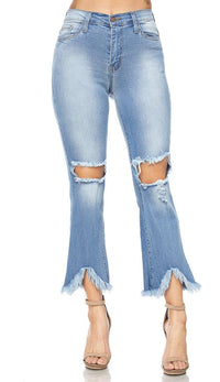 Frayed and Destroyed High Waisted Denim Pants