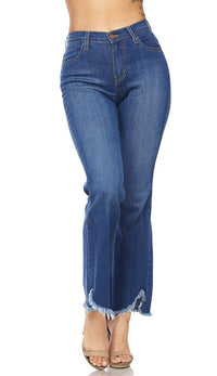 Wide Leg Frayed High Waisted Denim Pants