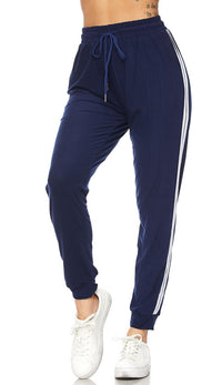 Navy Blue Striped Microfiber Jogger Pants