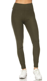 Olive Microfiber Striped High Waisted Leggings