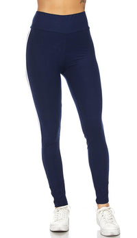 Navy Blue Microfiber Striped High Waisted Leggings