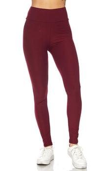 Burgundy Microfiber Striped High Waisted Leggings - SohoGirl.com