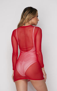 Red Long Sleeve Mesh Cover Up