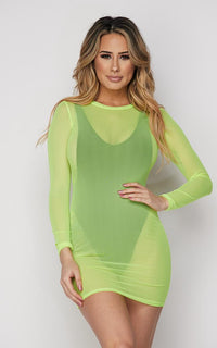 Neon Green Long Sleeve Mesh Cover Up