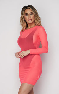 Neon Pink Long Sleeve Mesh Cover Up
