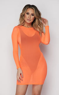 Neon Orange Long Sleeve Mesh Cover Up