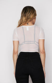 Sheer Mesh Short Sleeve Tie Front Top - White