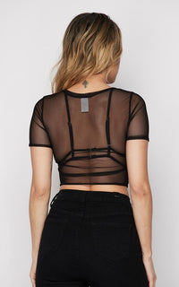 Sheer Mesh Short Sleeve Tie Front Top - Black
