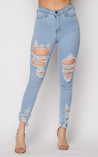 Vibrant Distressed High Waisted Skinny Jeans in Light Wash