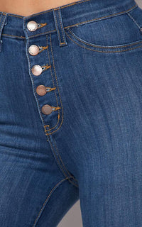 Vibrant Five Button Bell Bottom Jeans in Medium Wash