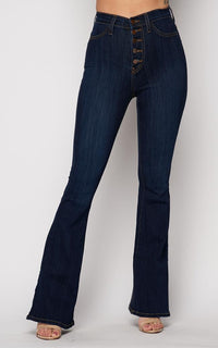 Vibrant Five Button Bell Bottom Jeans in Dark Wash