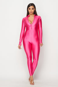 Nylon Spandex Zip-Up Long Sleeve Jumpsuit in Baby Pink