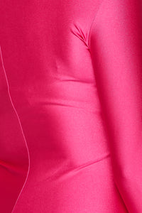 Nylon Spandex Zip-Up Long Sleeve Jumpsuit in Baby Pink - SohoGirl.com