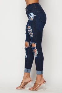 Rolled Up Hem Destroyed Jeans - Dark Denim
