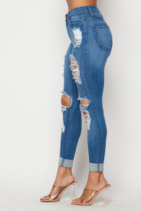 Rolled Up Hem Destroyed Jeans - Medium