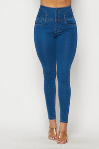 4 Button Super High Waisted Denim Skinny Jeans - Medium - SohoGirl.com
