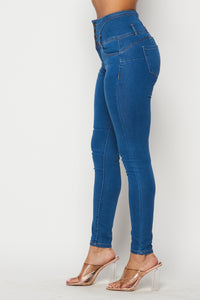 4 Button Super High Waisted Denim Skinny Jeans - Medium