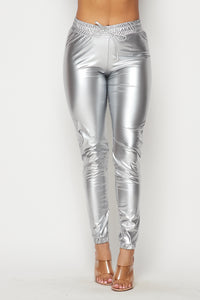 Faux Leather High Waisted Joggers Pants in Metallic Sliver