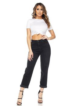 Black High Waisted Denim Mom Jeans