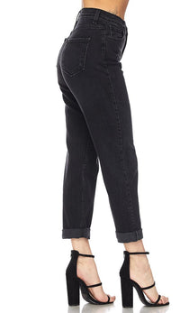 Black High Waisted Denim Mom Jeans - SohoGirl.com