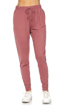 Dusty Rose Striped Microfiber Jogger Pants