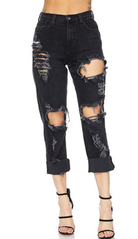 Black Distressed High Waisted Denim Mom Jeans