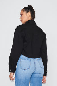 Cropped Embellished Pocket Denim Jacket - Black - SohoGirl.com