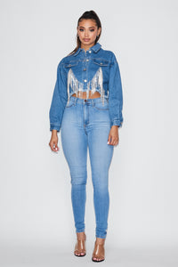Cropped Embellished Pocket Denim Jacket - Blue