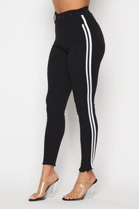 Black Skinny Jeans With White Side Stripe