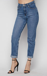 Vibrant High Waisted Mom Jeans in Medium Wash (1-3XL)