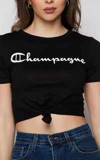 Champagne Tie Front Short Sleeve T-shirt - Black