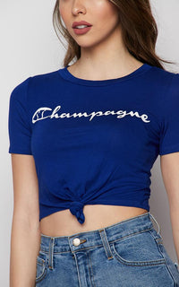 Champagne Tie Front Short Sleeve T-shirt - Blue