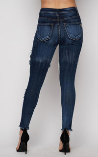 Vibrant Mid Rise Distressed Jeans in Dark Wash