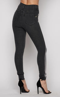 Vibrant Rhinestone Stripe High Waisted Denim Skinny Jeans - Black