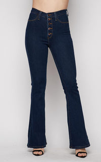 Vibrant Tall Bell Flare Button Fly Denim Jeans in Dark Wash - SohoGirl.com