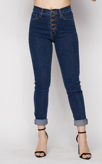 Vibrant Button Fly Mom Jeans in Dark Wash