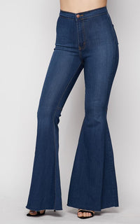 Vibrant Super Flare Bell Bottom Jeans in Medium Wash (1-3XL)