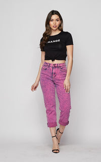 Vibrant Acid Wash Mom Jeans in Pink