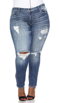 Plus Size Slightly Ripped Low Rise Skinny Jeans - SohoGirl.com