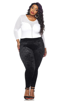 Plus Size Black Crushed Velvet High Waisted Leggings - SohoGirl.com