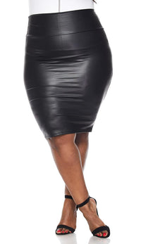 Plus Size High Waisted Faux Leather Pencil Skirt in Black - SohoGirl.com