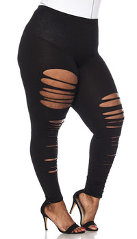 Plus Size Ripped Up Torn Apart Leggings