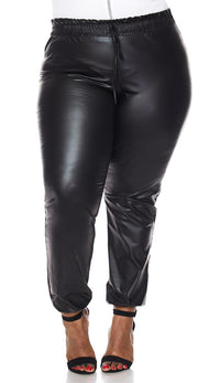 Plus Size Faux Leather Jogger Pants with Drawstring