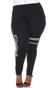 Plus Size Guns Out Machine Gun Leggings in Black