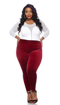 Plus Size Wine High Waisted Velvet Leggings