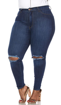 Plus Size Dark Blue Ripped Knee Super High Waisted Skinny Jeans - SohoGirl.com