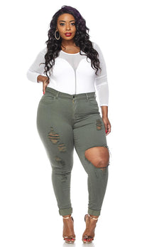 Plus Size High Waisted Distressed Skinny Jeans in Olive - SohoGirl.com