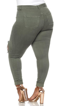 Plus Size High Waisted Distressed Skinny Jeans in Olive
