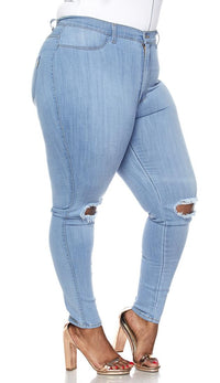 Plus Size Ripped Knee Super High Waisted Skinny Jeans in Light Blue - SohoGirl.com