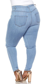 Plus Size Ripped Knee Super High Waisted Skinny Jeans in Light Blue